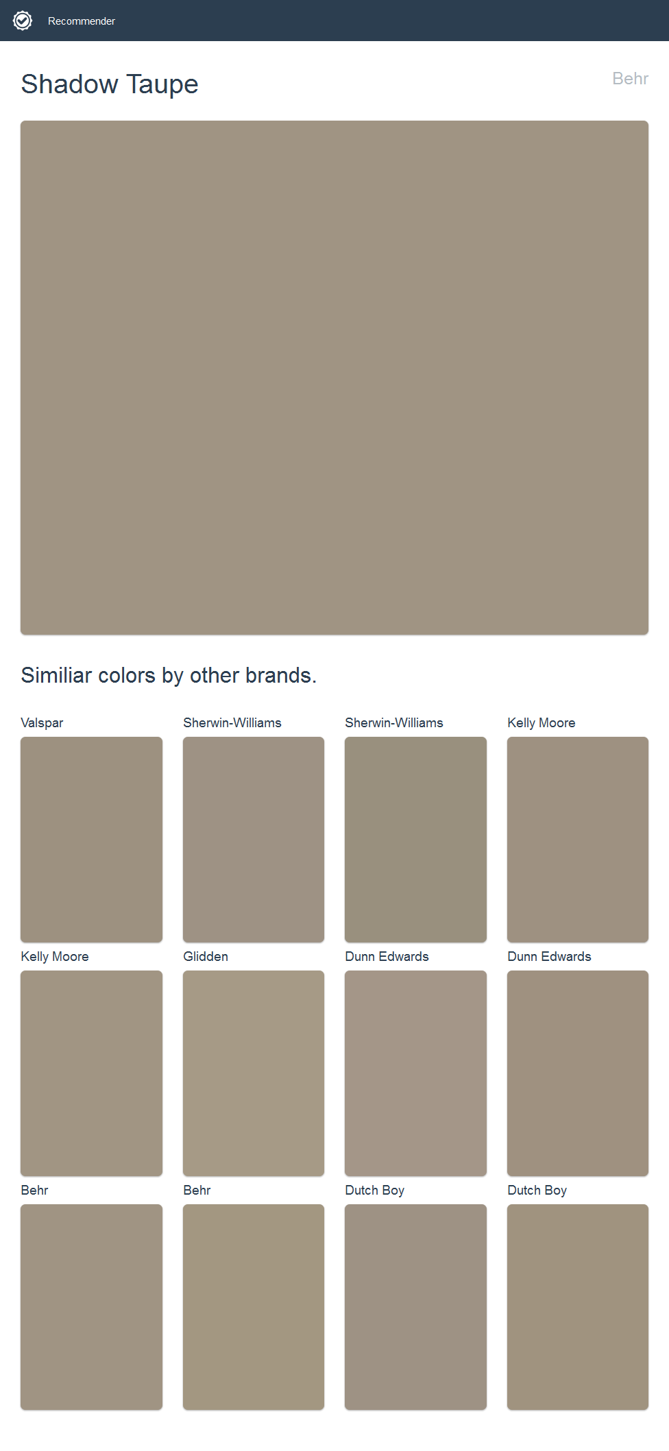 Shadow Taupe Behr Click The Image To See Similiar Colors By
