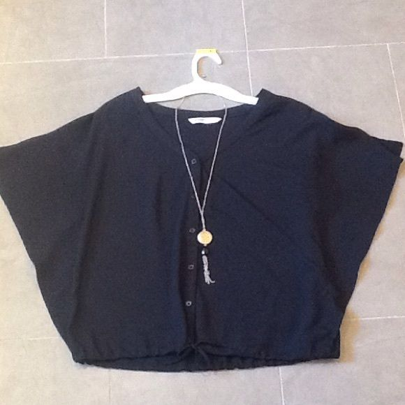 Old Navy Black Blouse Navy Tops Elastic Waist And Neckline
