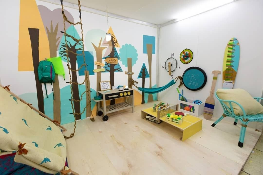 A Campsite Theme Playroom With Sports Elements Created For A Tv Show Doyoureka An Interior Design Comp Interior Design Competition Playroom Home Decor Decals
