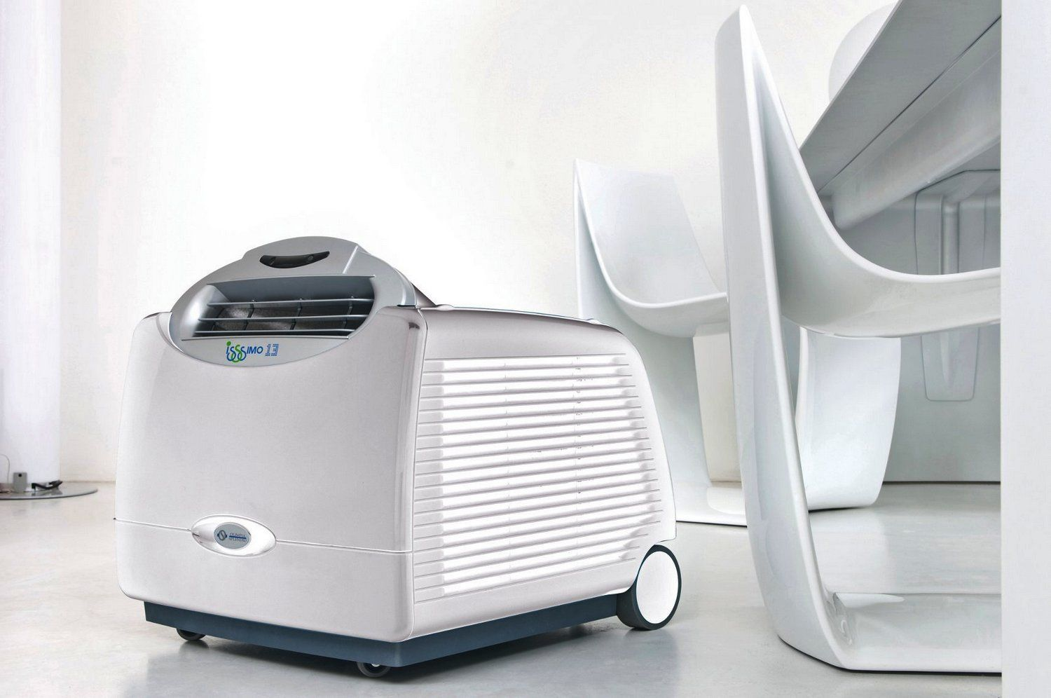Compact Small Air Conditioner Unit In White Color In Wheels