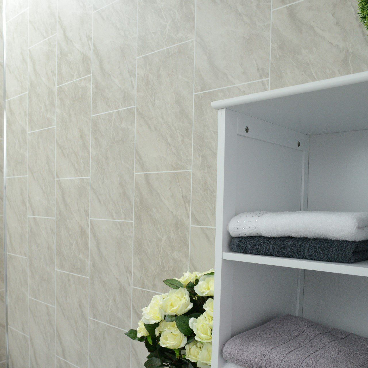 Grey marble bathroom wall panels Tile effect cladding used in ...