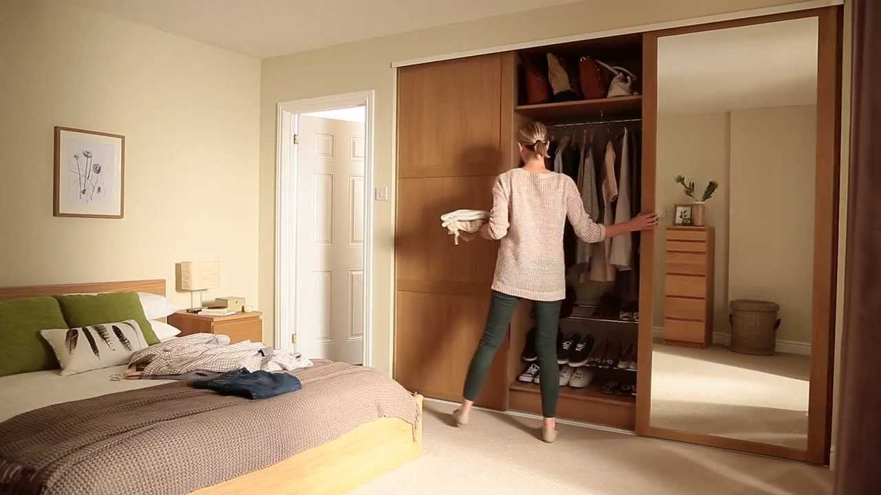 Shaker Panel And Mirror Door Oak Sliding Wardrobe Doors