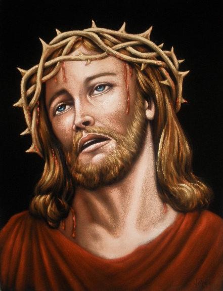 Jesus Christ Crown Of Thorns Black Velvet Original Oil Painting