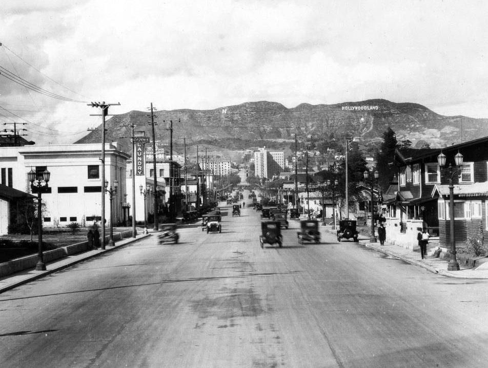 View looking north up Vine Street toward the the Hollywoodland sign, shortly…