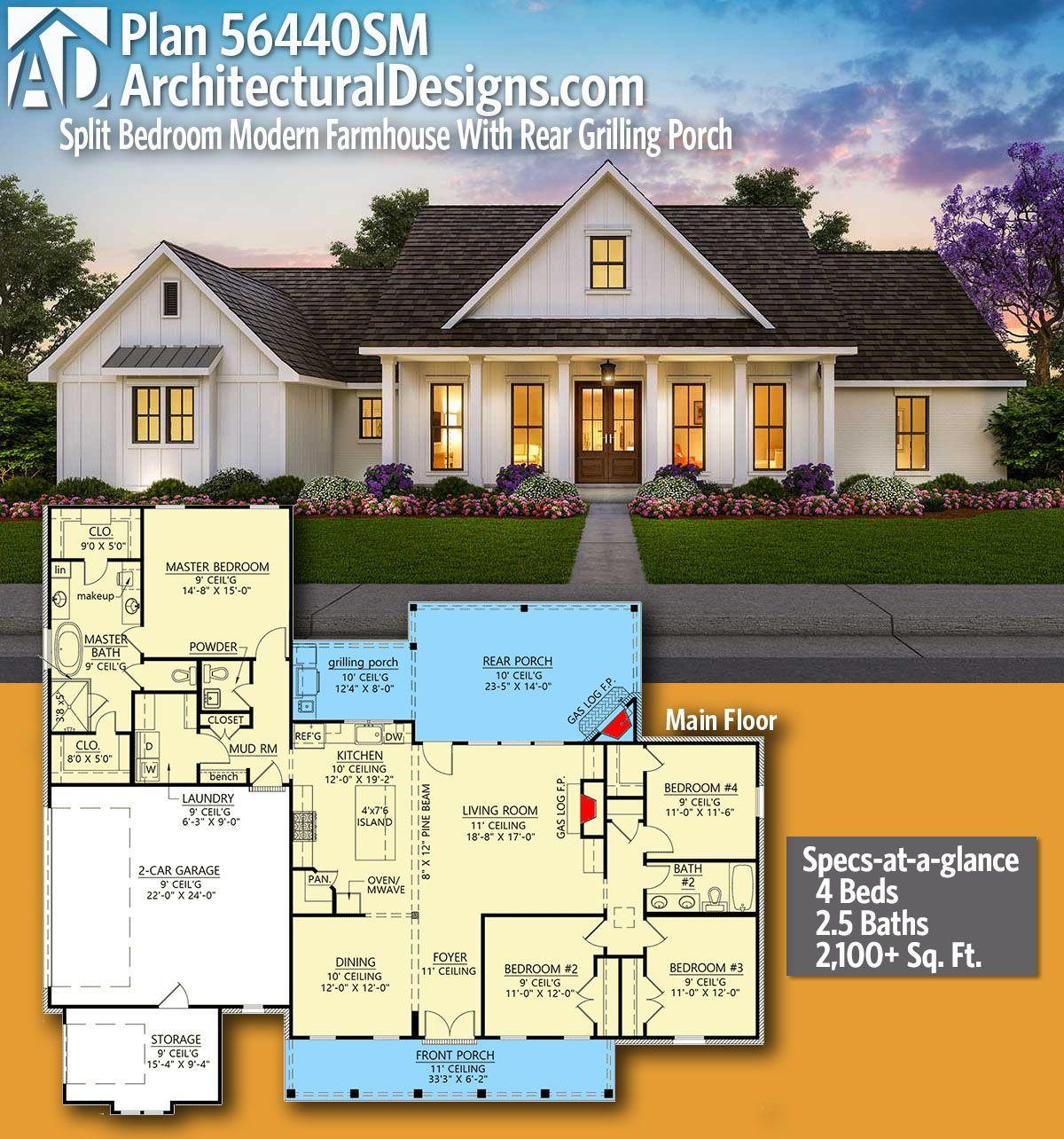 Plan 56440sm Split Bedroom Modern Farmhouse With Rear Grilling Porch In 2020 Modern Farmhouse