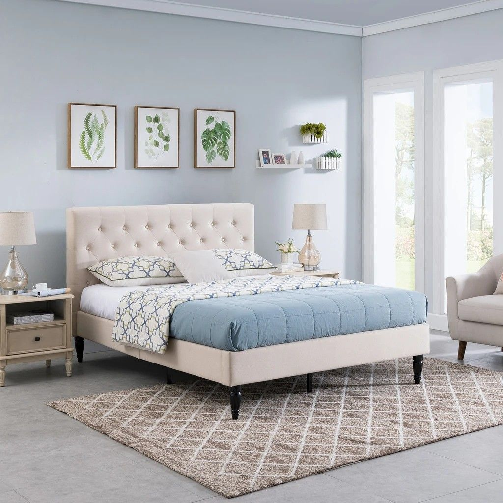 Lera FullyUpholstered QueenSize Platform Bed Frame, Low