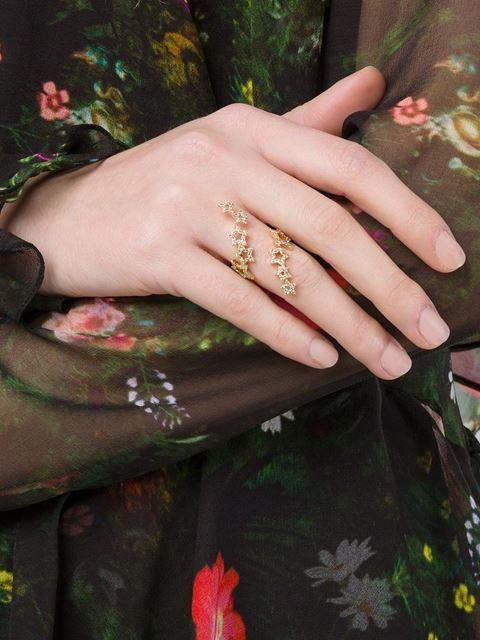 Rosa De La Cruz Yellow gold & diamond double multi-star ring