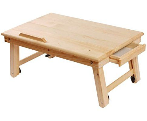Solid Wood Foldable Notebook Laptop Table Adjule Height Angle Folding Food Bed Lap Top