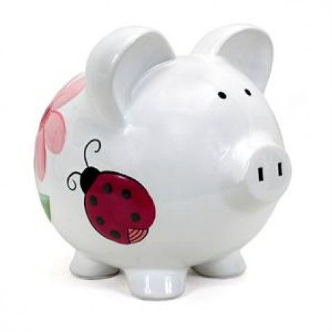 Add a cute touch to a child's bedroom with the Personalized Lady Bugs and Heart Flowers Piggy Bank. Its lovable, hand-painted design is perfect for a nursery, baby shower, birthday and every occasion in between.