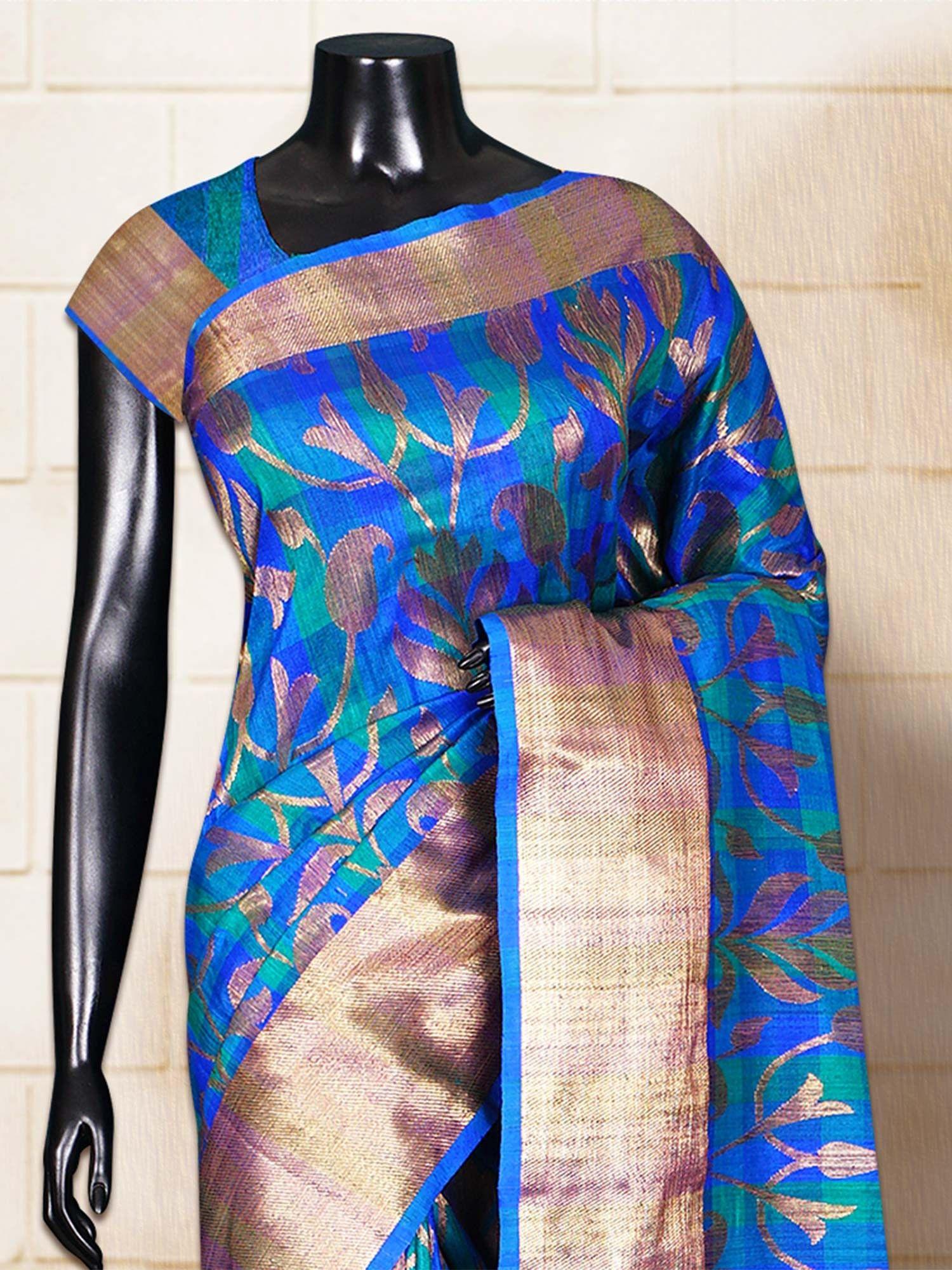 Pure silk saree green blue dupion patola self border u pallu handloom saree
