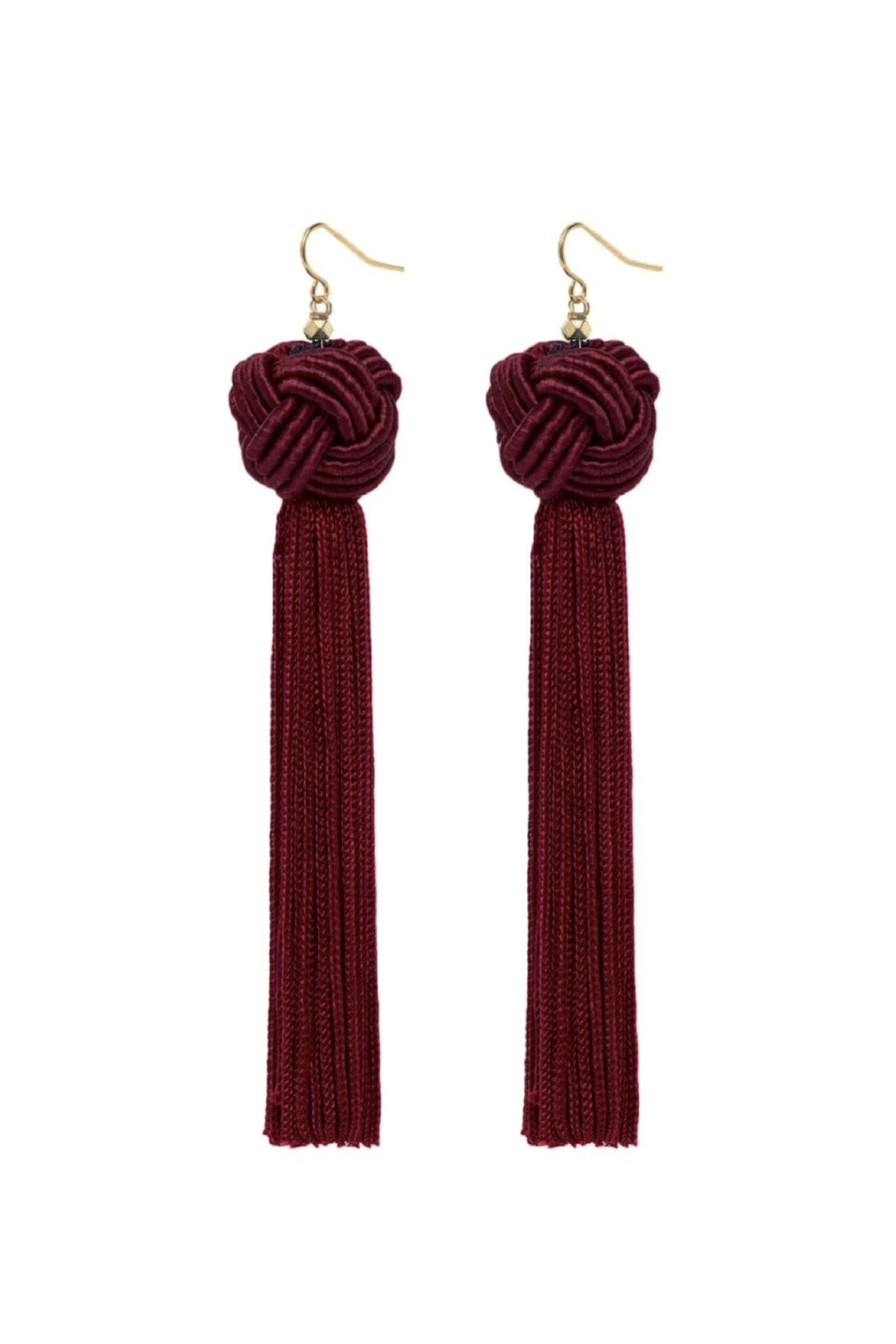 Astrid Knotted Tassel Earrings in Burgundy by Vanessa Mooney