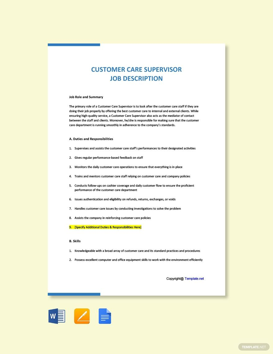 Free Customer Care Supervisor Job Description Template in