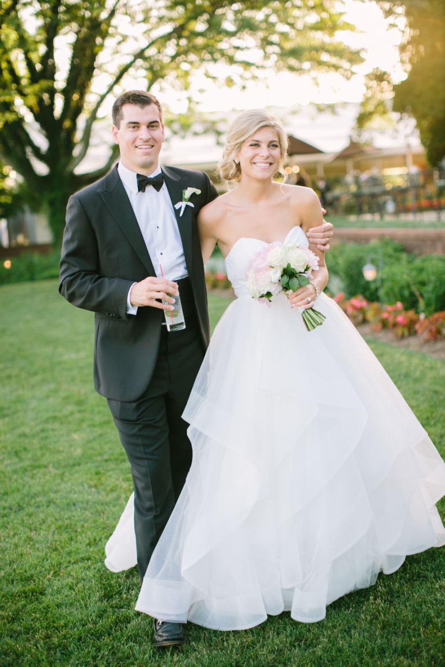 Classic blacktie wedding with pretty pink peonies black tie
