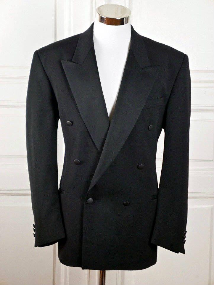 Black Tuxedo Jacket w Peak Lapels, Double-Breasted Dinner Jacket, European Vintage Smoking Jacket, Vintage Prom Tuxedo: Size XL (42 US/UK)