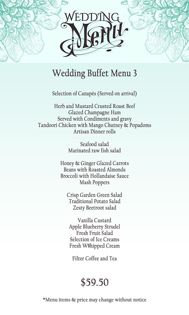 Wedding Reception Buffet Menu Ideas Wedding Catering Menus Available For A Range Of Budgets Wedding Buffet Menu Wedding Catering Menu Wedding Buffet