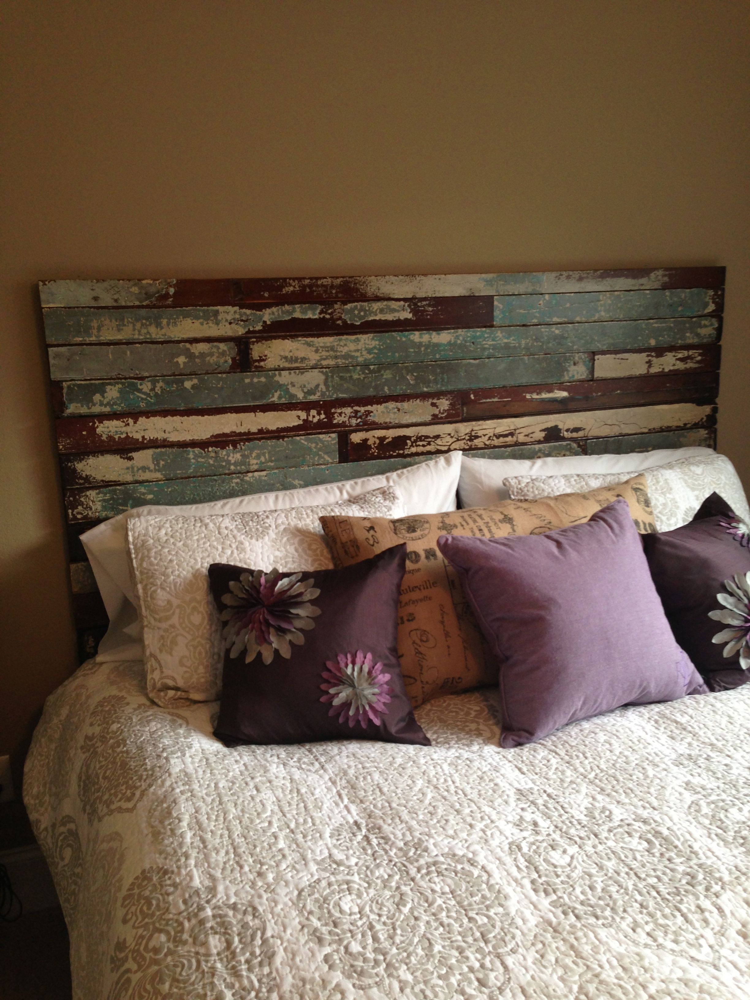 Reclaimed wood makes a great king size headboard just - King size headboard ideas ...