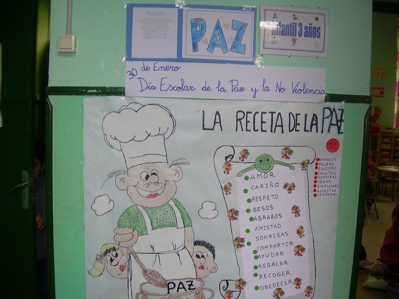 Hoy Hemos Terminado Nuestro Mural De La Receta De La Paz Lo Hemos Coloreado Con La Ayuda De Pilar Conserje Y Hemos Escri Mural De La Paz Paz Dia De La