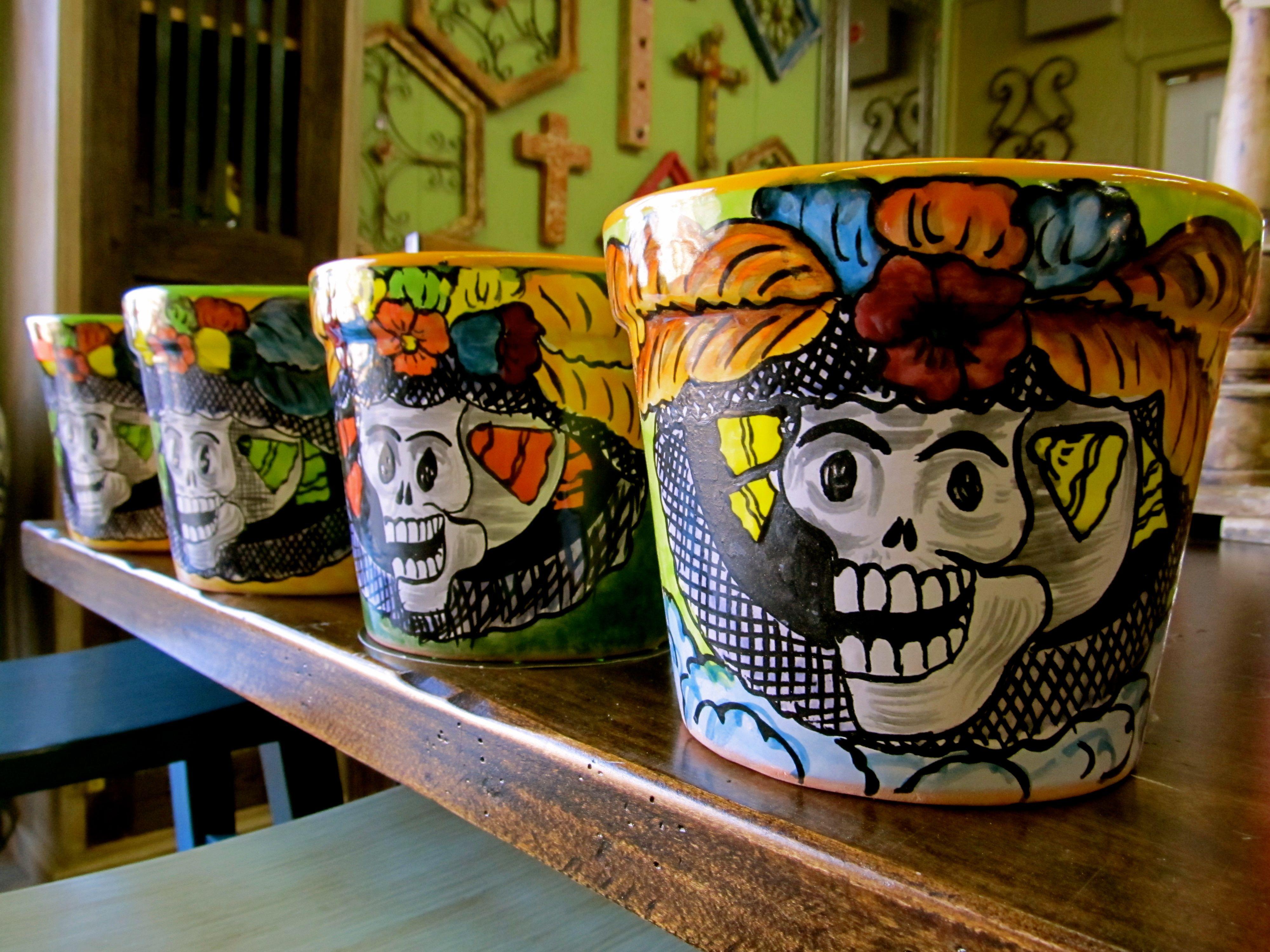Dia de los muertos planter pottery pots perfect gift ideas