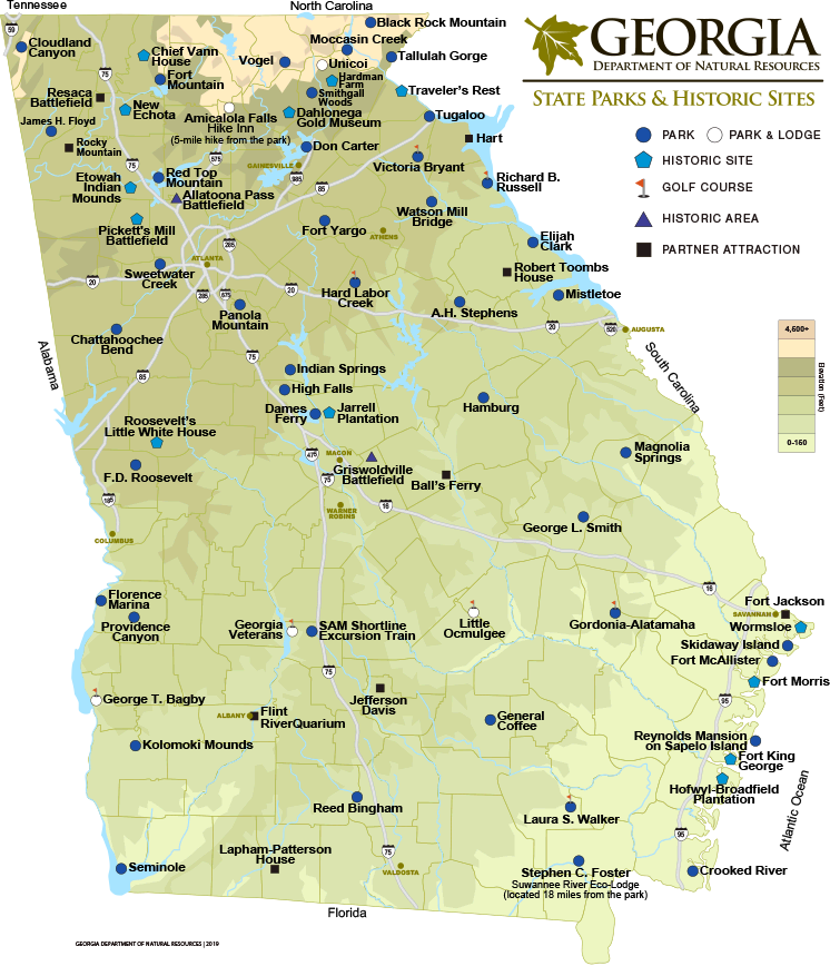 Georgia State Parks Historic Sites Map Department Of Natural Resources Division Georgia State Parks State Parks Georgia State