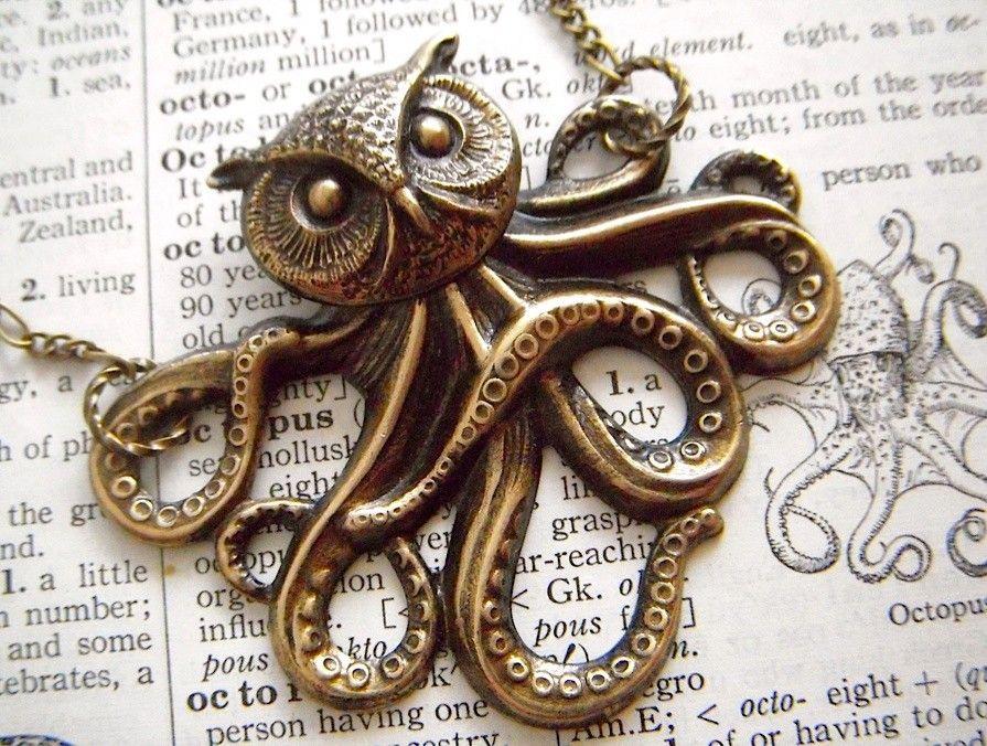 Owl Octopus Necklace Victorian Monster The Owlctopus Half
