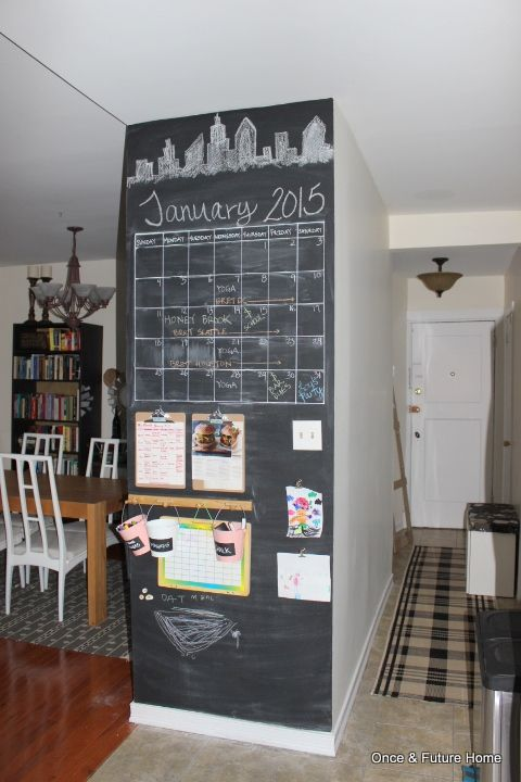 Dsb Chalkboard Command Center In The Kitchen With Images