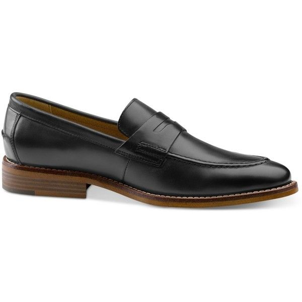 G.h. Bass & Co. Men's Conner Loafers ($125) ❤ liked on Polyvore featuring men's fashion, men's shoes, men's loafers, black, mens penny loafer shoes, mens leather shoes, mens leather loafer shoes, mens black leather shoes and mens loafers