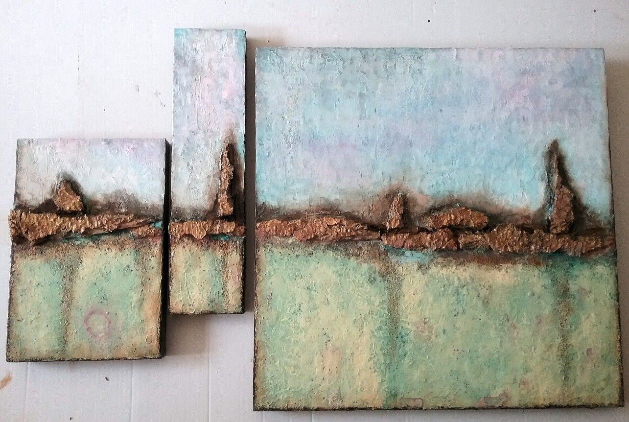 O T Triptychon Auf Holz Acryl Tusche Und Rinde Auf Holz Acryl