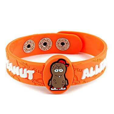 AllerMates© - Allergy Alert Wristbands  They have them for: Peanut, Dairy, Eggs, Bees, Cat's, Soy, and Asthma