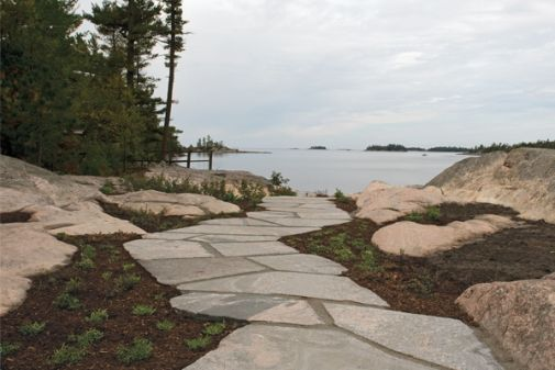 Flagstone pathway from cottage to lake.