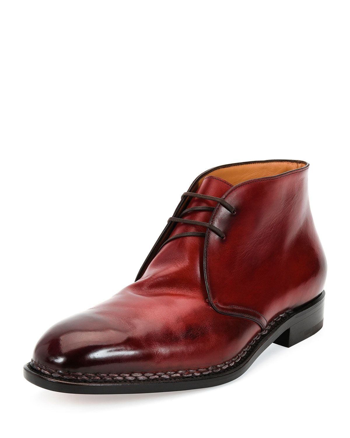 Salvatore Ferragamo Palermo 2 Tramezza Special Edition Burnished Calfskin Chukka Boot with Norwegian Welt, Red