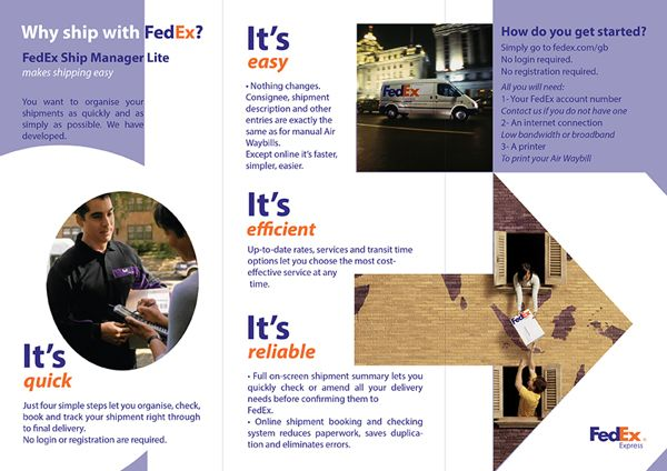 This Is A Brochure Ad From Fedex Showing Their Aunce How Quick Easy And Efficient Company