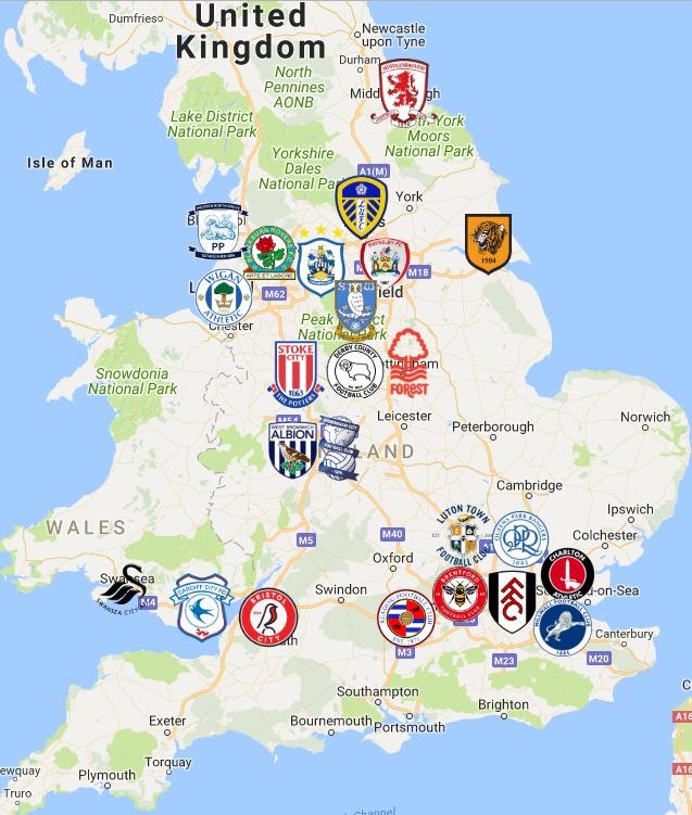 2019 Efl Championship England Map England Map Map England Football