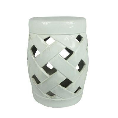 Ceramic White Lattice Garden Stool at The Home Depot - Tablet  sc 1 st  Pinterest & 18 in. dia. Ceramic White Lattice Garden Stool ST10001-18C at The ... islam-shia.org