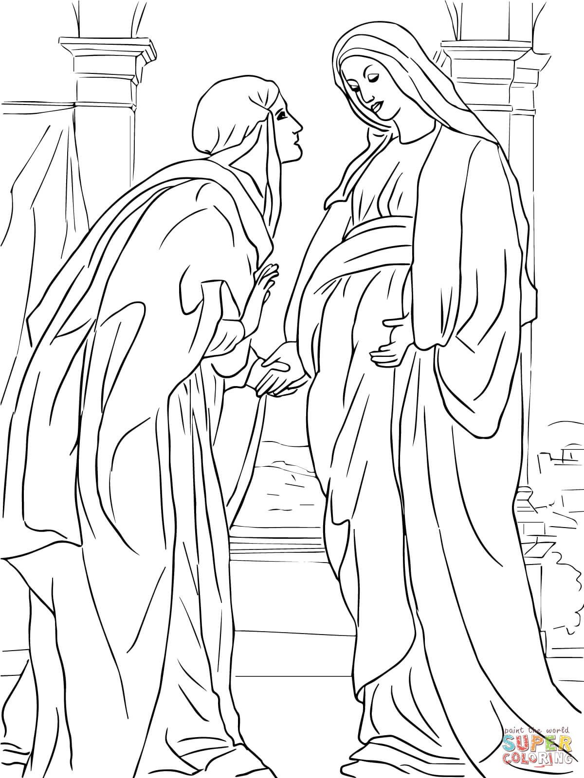 Visitation of Mary to Elizabeth coloring page from Jesus