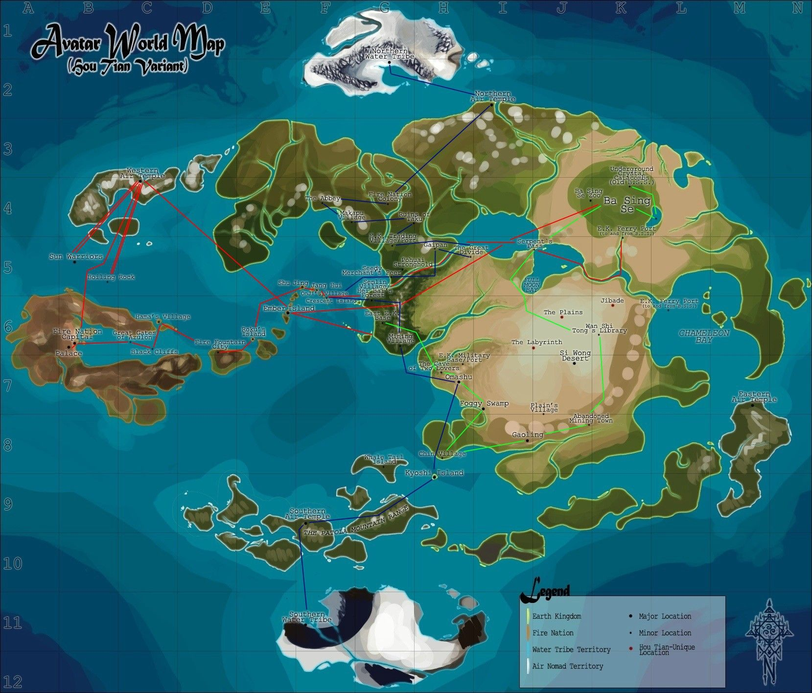 Avatar The Last Airbender World Map Detailed map of the Gaang's adventures. | Avatar world, Avatar the