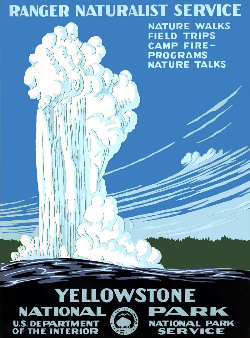 Beautiful Vintage Yellowstone National Park Poster 1938 Vintage National Park Posters National Park Posters Wpa Posters
