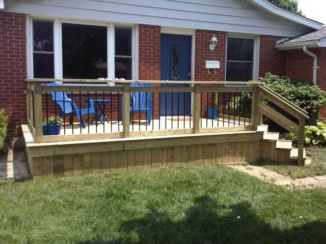 Simple but cute front deck pinteres for Front deck designs bungalow