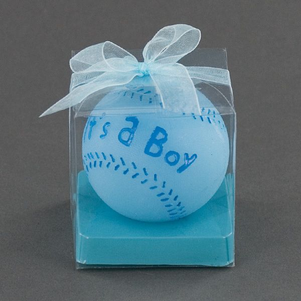 Its A Boy Blue Baseball Candle   Baby Shower Favor