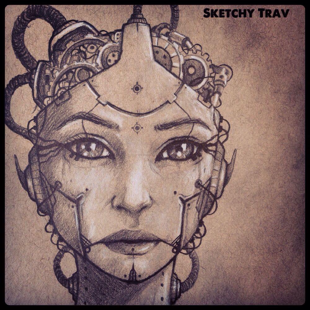Robot Woman | Sketches, Pencil sketch