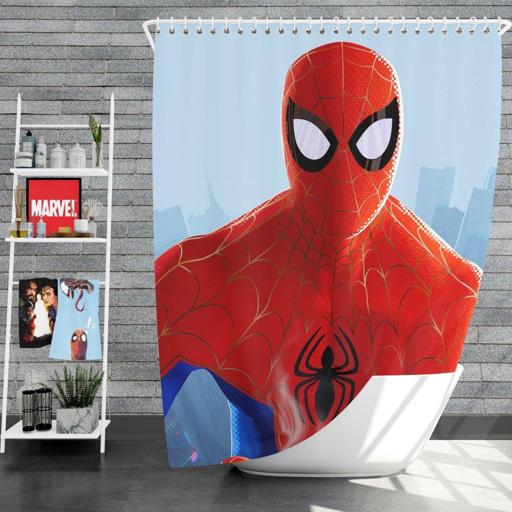 Spider Man Into The Spider Verse Movie Mcu Shower Curtain