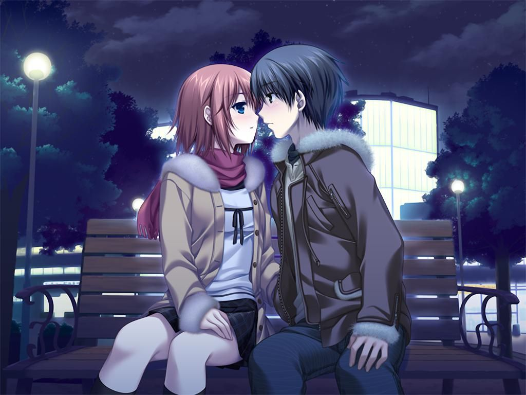 cute anime couple ready for first sensual french kiss on a ...