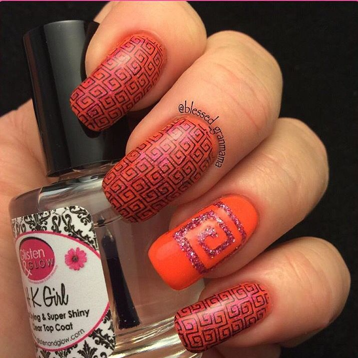 Fun mani by @blessed_granmama using our: Square Swirl Nail Vinyls found at: snailvinyls.com