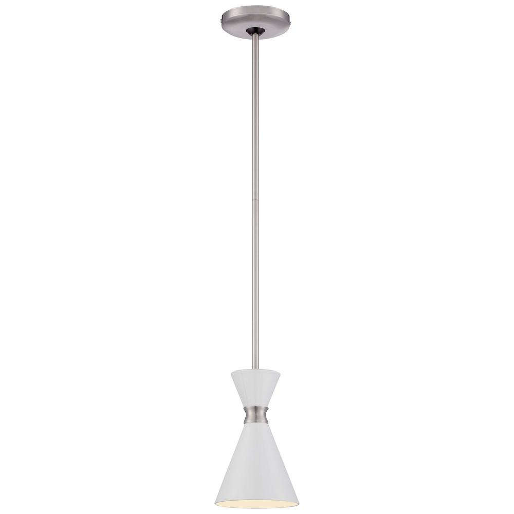 George Kovacs Conic 1 Light Brushed Nickel Mini Pendant With Glitter Gloss White Shade P1821 44f The Home Depot Mini Pendant Lights Pendant Light Light George kovacs pendant light