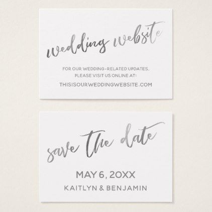 Silver White Wedding Website  Save the Date Card - customize create
