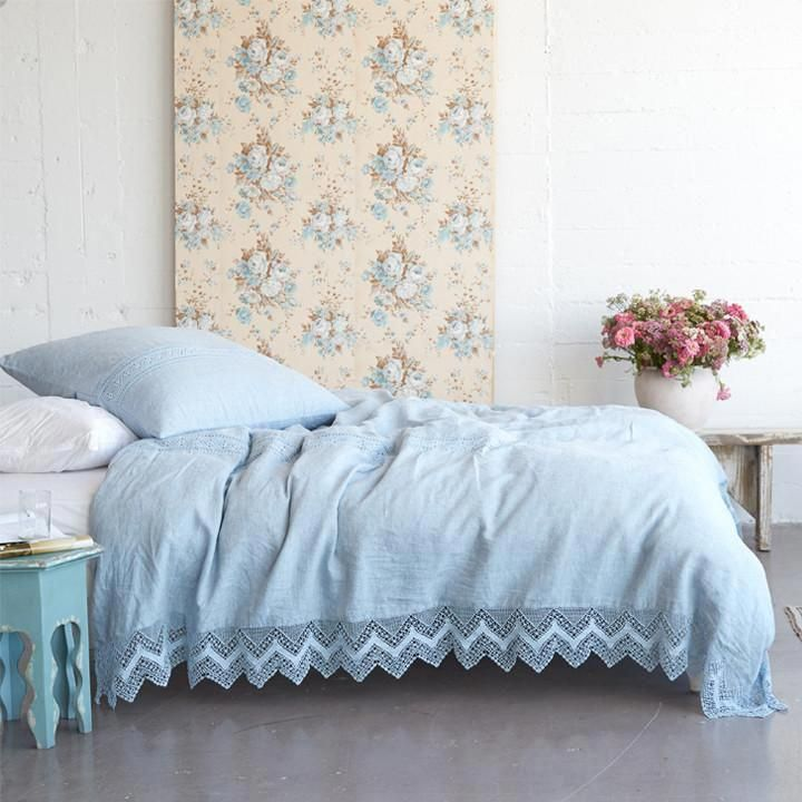 The Cluny Lace Bedding Collection pairs soft, washed linen ...