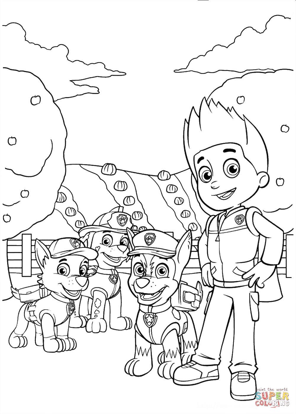 Rocky Marshall Chase And Ryder Super Coloring Paw Patrol Coloring Paw Patrol Coloring Pages Cartoon Coloring Pages