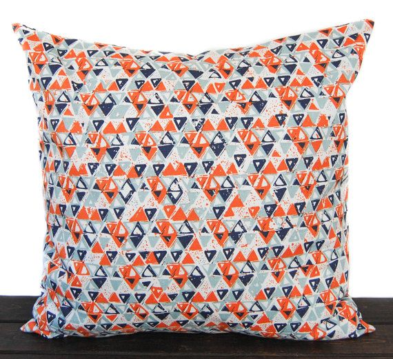 Details About Pillows Indoor 20 Inch Lattice In Navy Blue Or Orange Throw Pillow