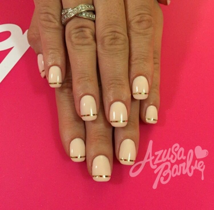 Gold Line and beige neutral nail design - Gold Line And Beige Neutral Nail Design Summer Nail Art