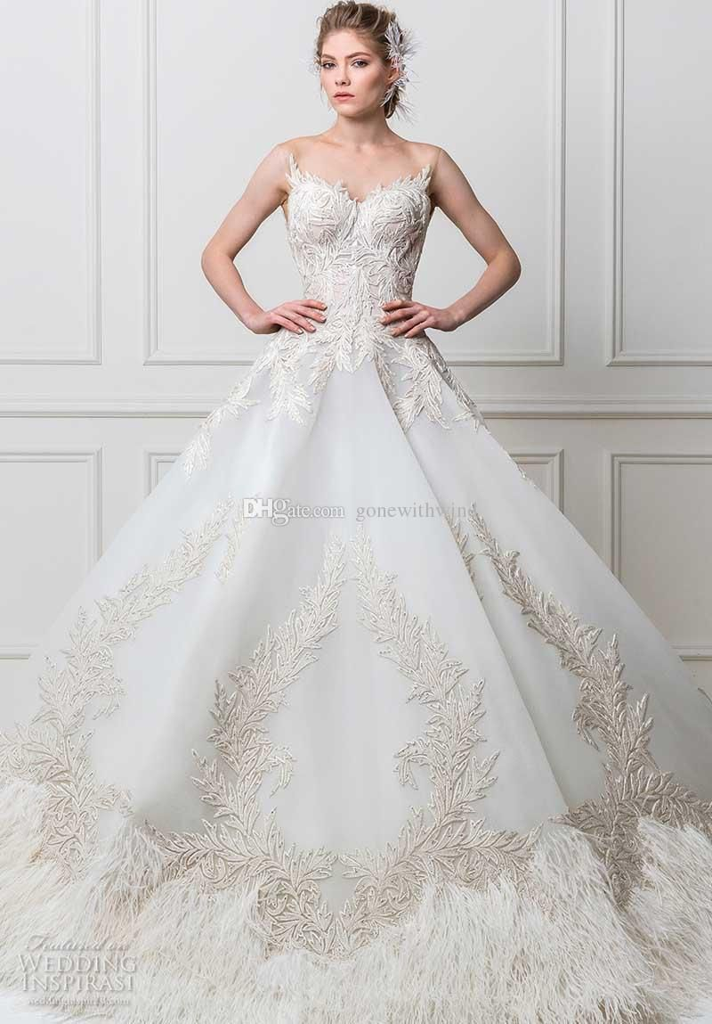 Princess Glamorous Ball Gown Wedding Dresses 2017 Maison Yeya Bridal Sweetheart Neckline Open V Back Royal