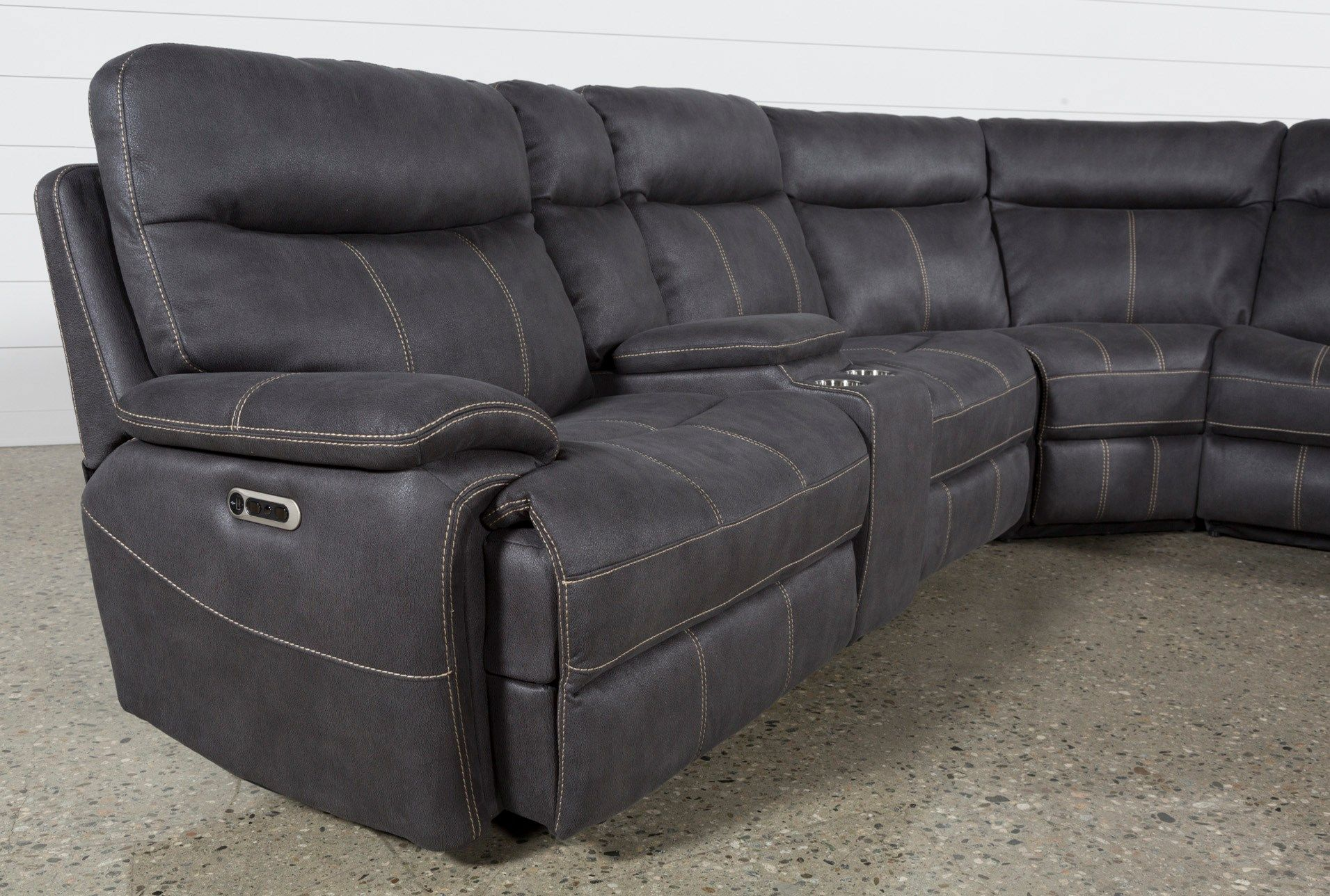 Denali Charcoal Grey 6 Piece Reclining Sectional W 2 Power Headrests Left Reclining Sectional Power Reclining Sectional Sofa Best Leather Sofa